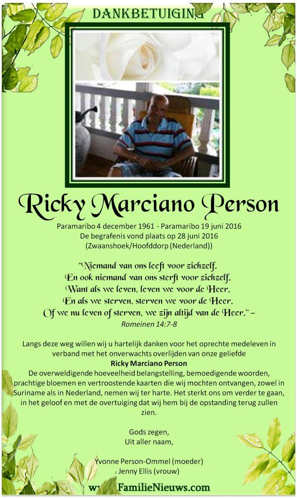 Dankbetuiging – Ricky Person