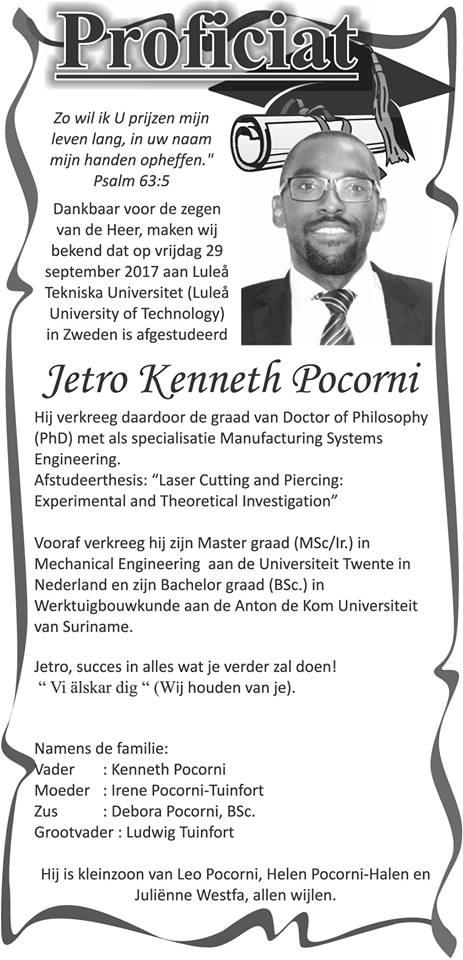 Geslaagd Jetro Pocorni Familienieuws Suriname