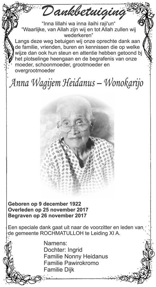 Heidanus overleden FamilieNieuws Suriname