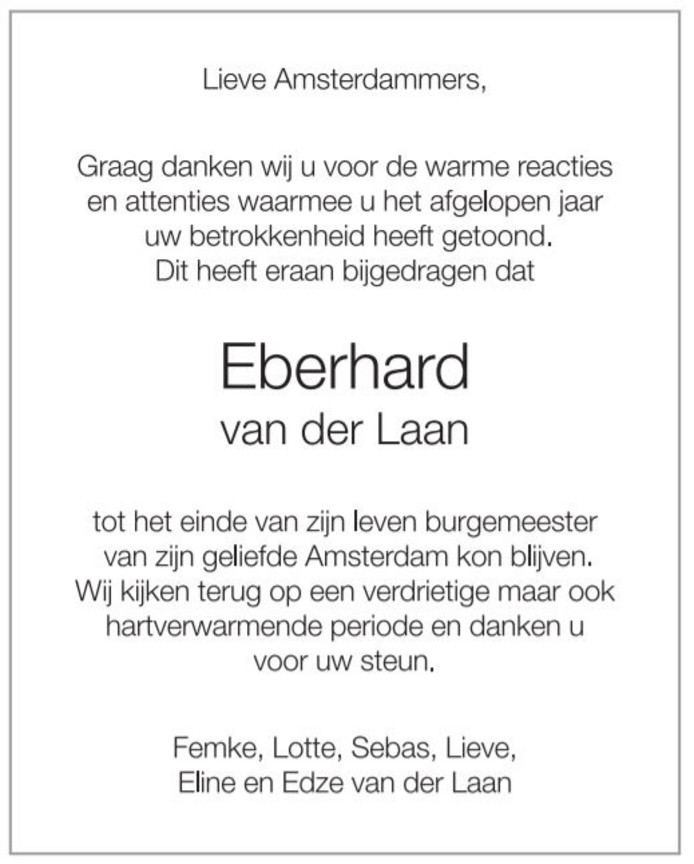 burgemeester Amsterdam Familienieuws Eberhard