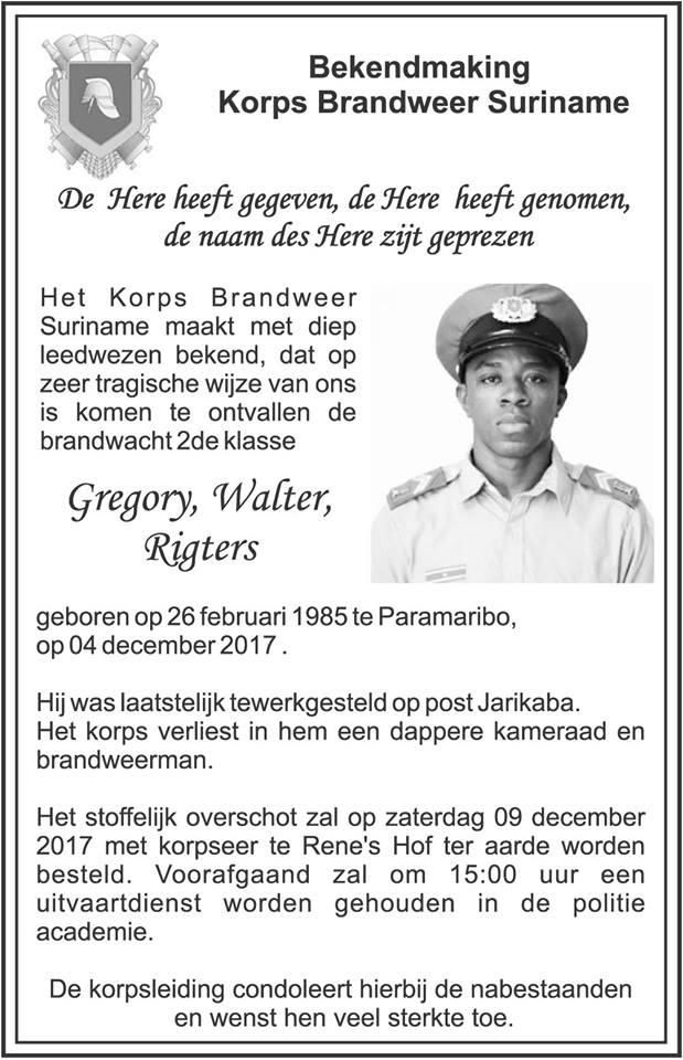Overleden voetballers Suriname Familienieuws Richters Gregory