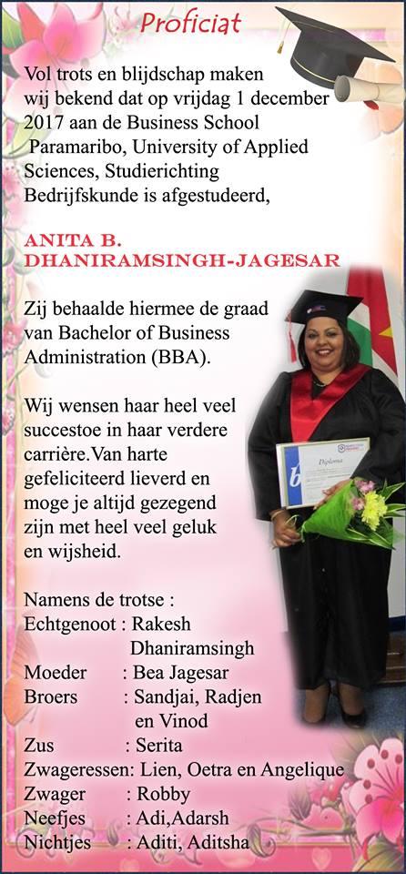 geslaagd anita Studie Suriname FamilieNieuws