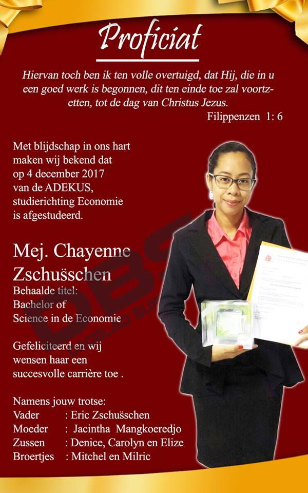 Geslaagd - Chayenne Zschusschen Suriname FamilieNieuws