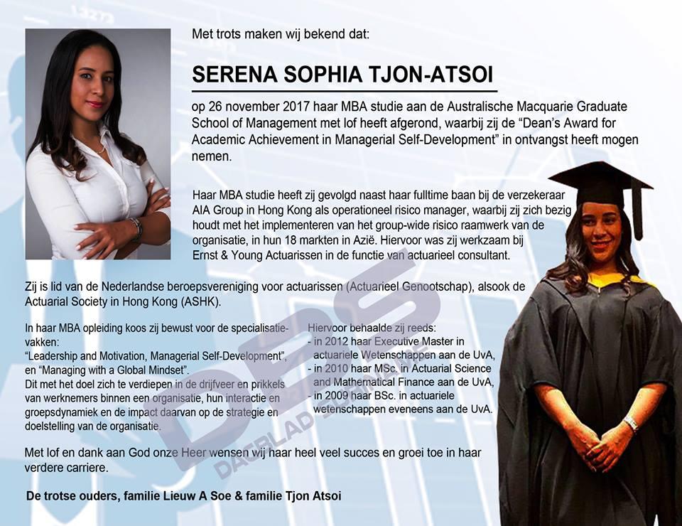 Geslaagd - Serena Tjon-Atsoi Suriname FamilieNieuws
