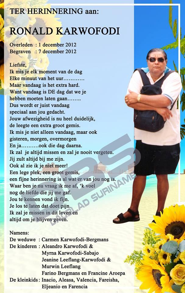 In Memoriam FamilieNieuws Nederland Suriname