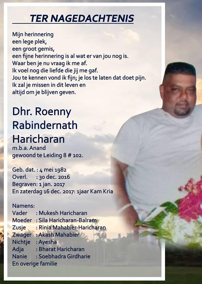 In memoriam In memoriam - Anand Haricharan FamilieNieuws Suriname