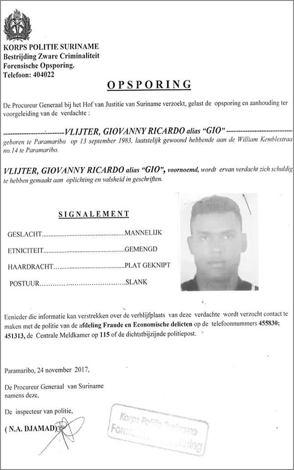 Opsporing Politie Suriname FamilieNieuws