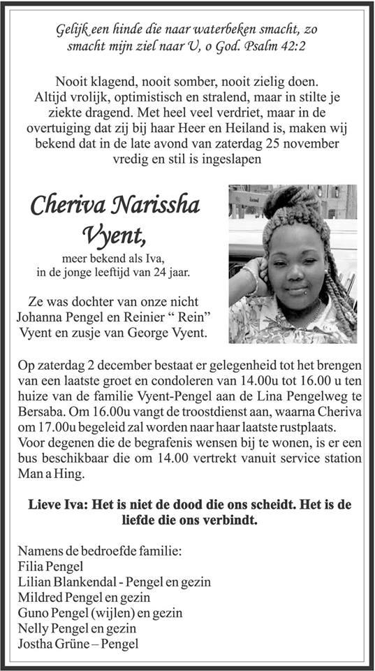 Overleden Suriname 24 jaar FamilieNieuws