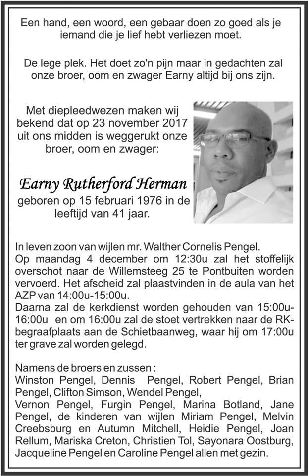 Herman overleden Suriname FamilieNieuws