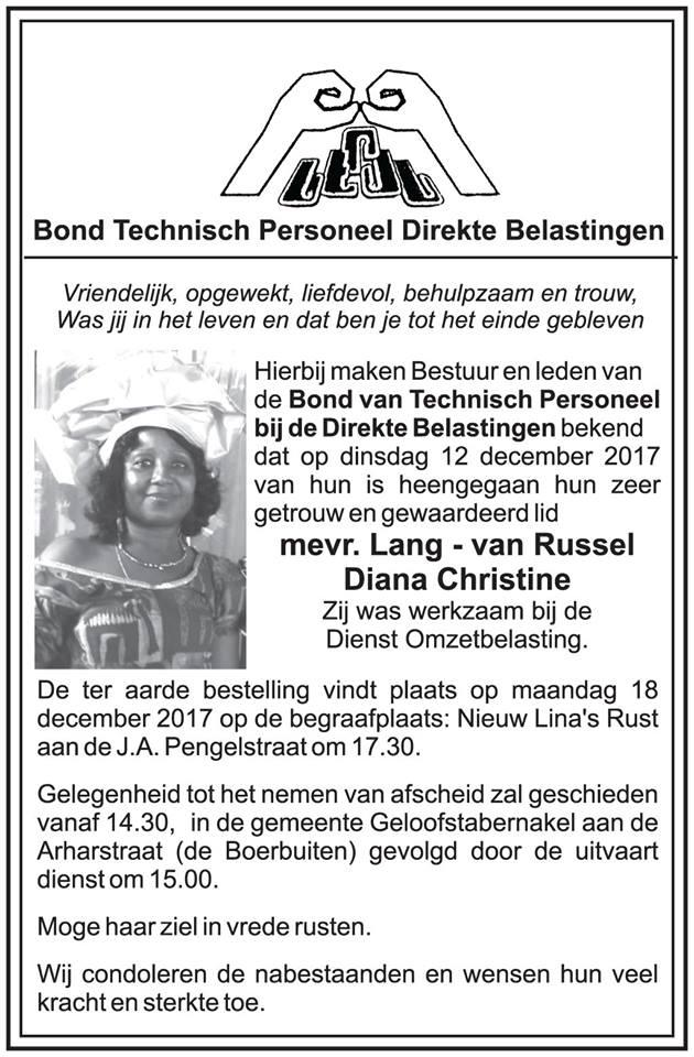 De herinnering aan mijn 51-jarige tante Diana Lang - Van Russel overleden FamilieNieuws Suriname