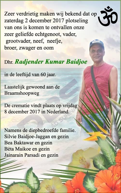 Overleden 60-jarige Radjender Baidjoe FamilieNieuws Suriname