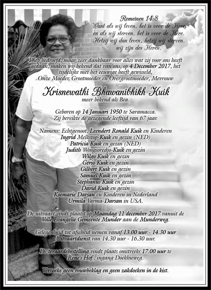 overleden Suriname Bea FamilieNieuws