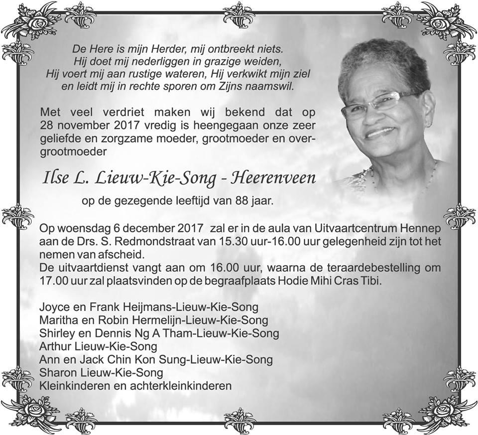 Heerenveen overleden FamilieNieuws Suriname