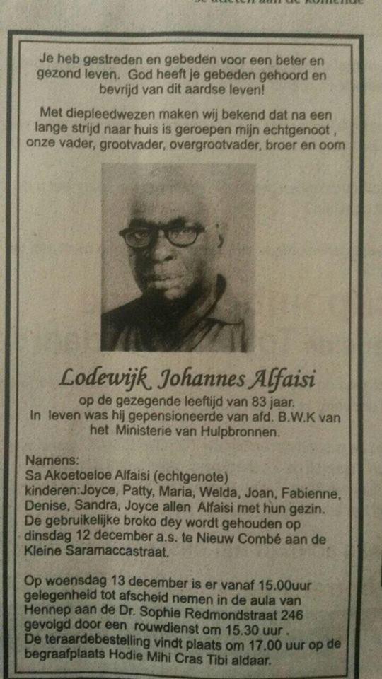 Overleden Suriname Familienieuws Alfaisi