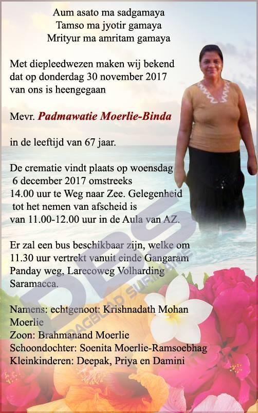 Suriname overleden FamilieNieuws Moerlie
