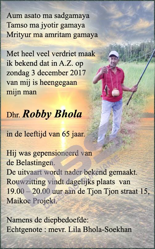 Suriname Robby Bhola Overleden FamilieNieuws