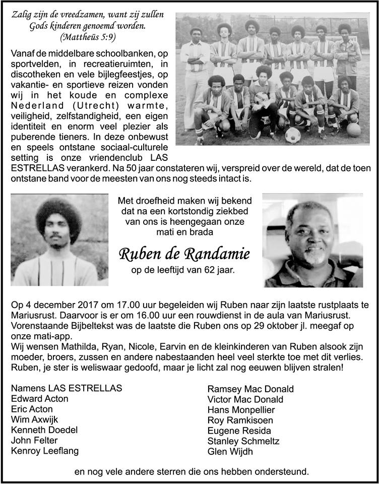 Overleden Suriname voetballer FamilieNieuws