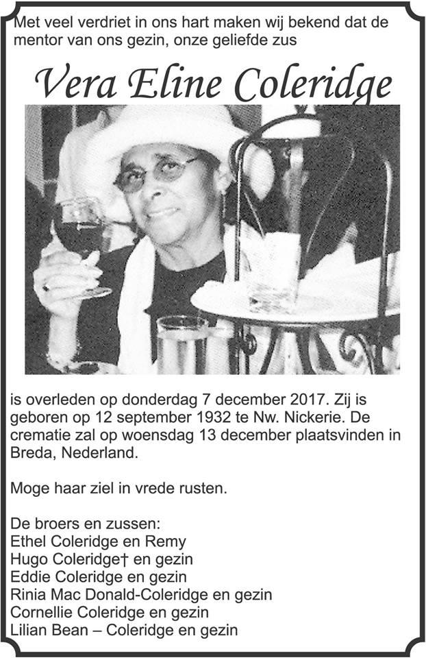 Overleden - Vera Coleridge Breda Nederland Suriname FamilieNieuws
