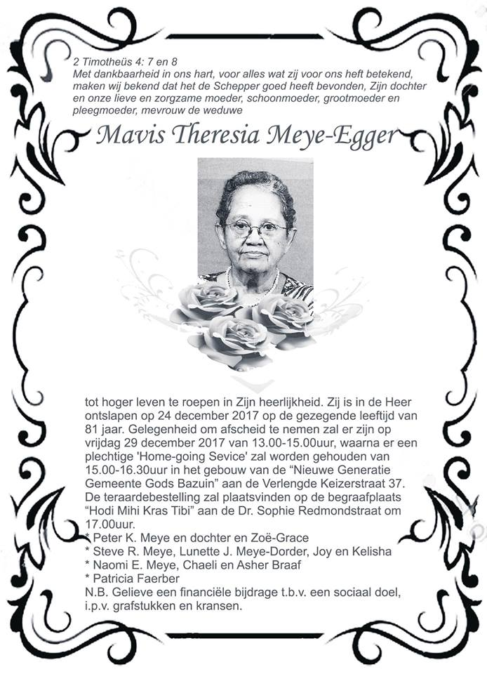 Overleden - Mavis Meye - Egger FamilieNieuws Suriname