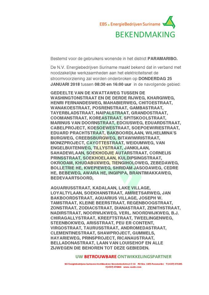 Bekendmaking EBS Stroomonderbreking Paramaribo vanaf 24 januari 2018