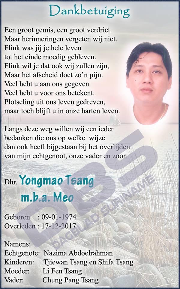Dankbetuiging - 43-jarige Meo Tsang FamilieNieuws Suriname