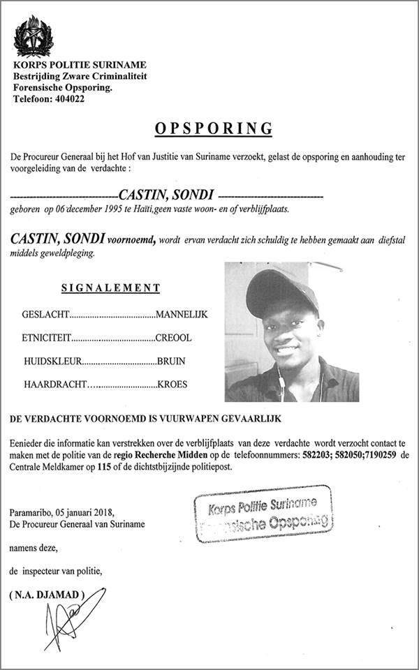 Opsporing - Sondi Castin FamilieNieuws Suriname politie
