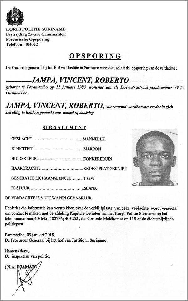 Politie FamilieNieuws Suriname Opsporing - Vincent Jampa