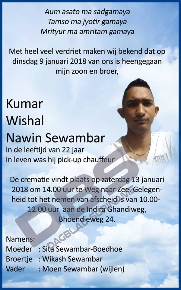 FamilieNieuws Suriname Overleden - 22-jarige Kumar Sewambar