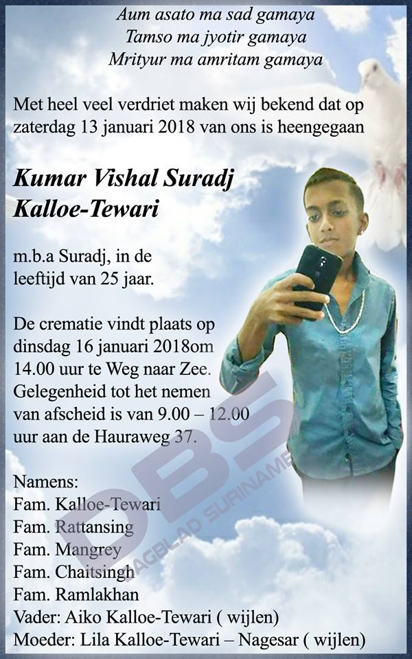 Overleden - 25-jarige Suradj Kalloe-Tewari FamilieNieuws Suriname