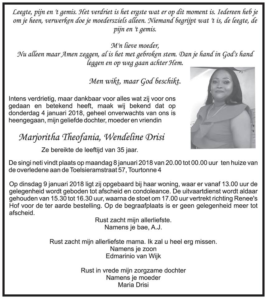 FamilieNieuws Suriname Overleden 35-jarige Marjoritha Drisi