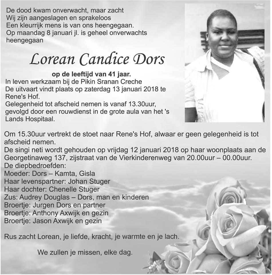 FamilieNieuws Suriname Overleden - 41-jarige Lorean Dors 1