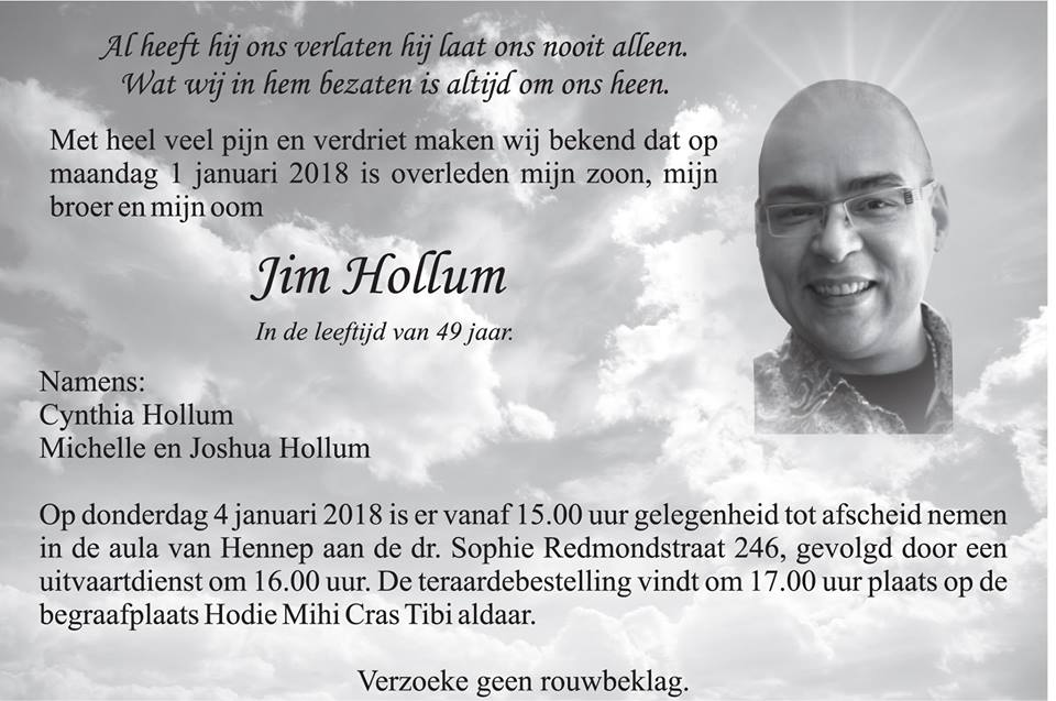 Overleden - 49-jarige Jim Hollum FamilieNieuws Suriname