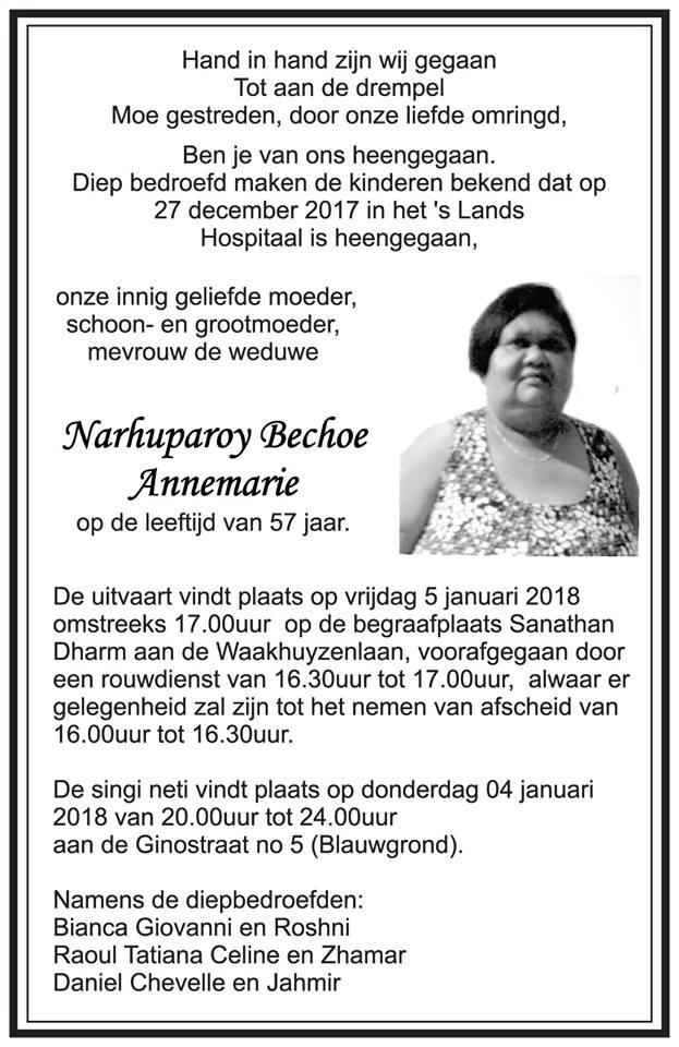 Overleden - 57-jarige Annemarie Bechoe FamilieNieuws Suriname