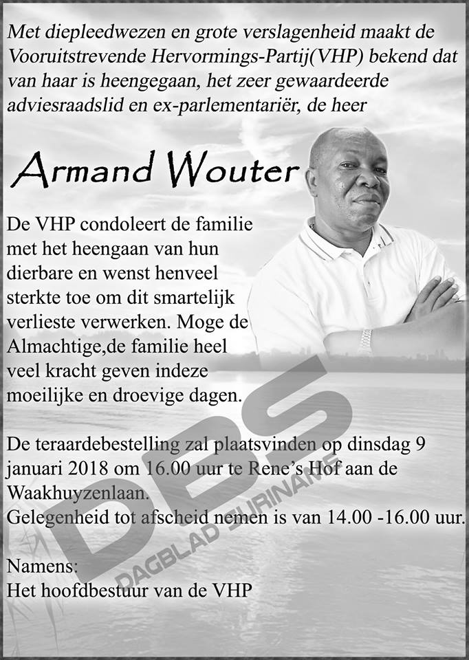 Overleden - Armand Wouter FamilieNieuws Suriname