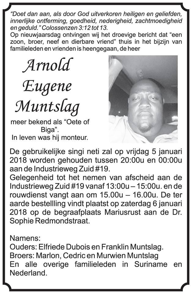 Overleden - Arnold Muntslag Suriname FamilieNieuws