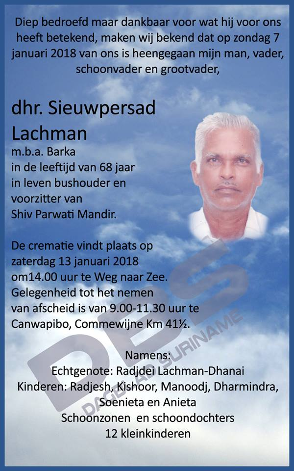 FamilieNieuws Suriname Overleden - Barka Lachman