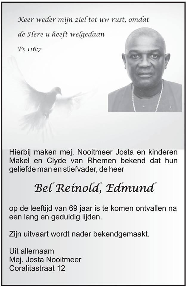 Overleden - Edmund Bel FamilieNieuws Suriname SLM
