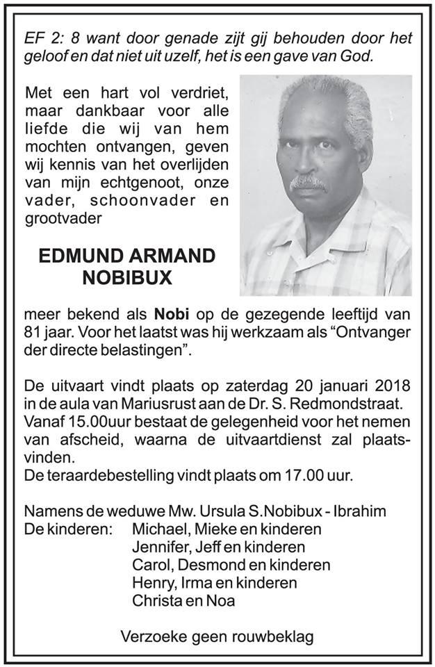 FamilieNieuws Suriname Overleden - Edmund Nobibux (Nobi)