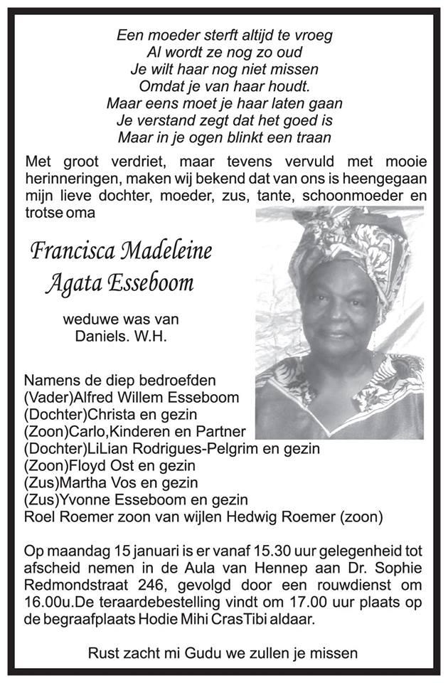 FamilieNieuws Suriname Overleden - Francisca Daniels - Esseboom