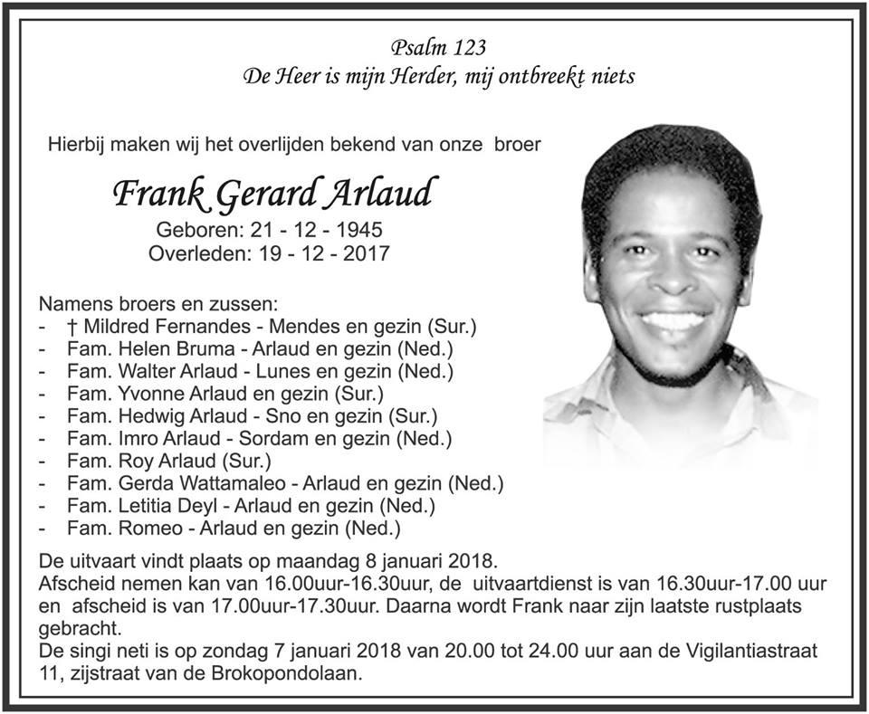FamilieNieuws Suriname Overleden - Frank Arlaud