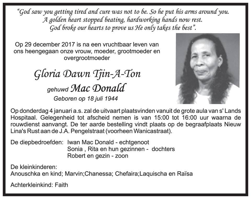 Overleden - Gloria Mac Donald - Tjin-A-Ton FamilieNieuws Suriname