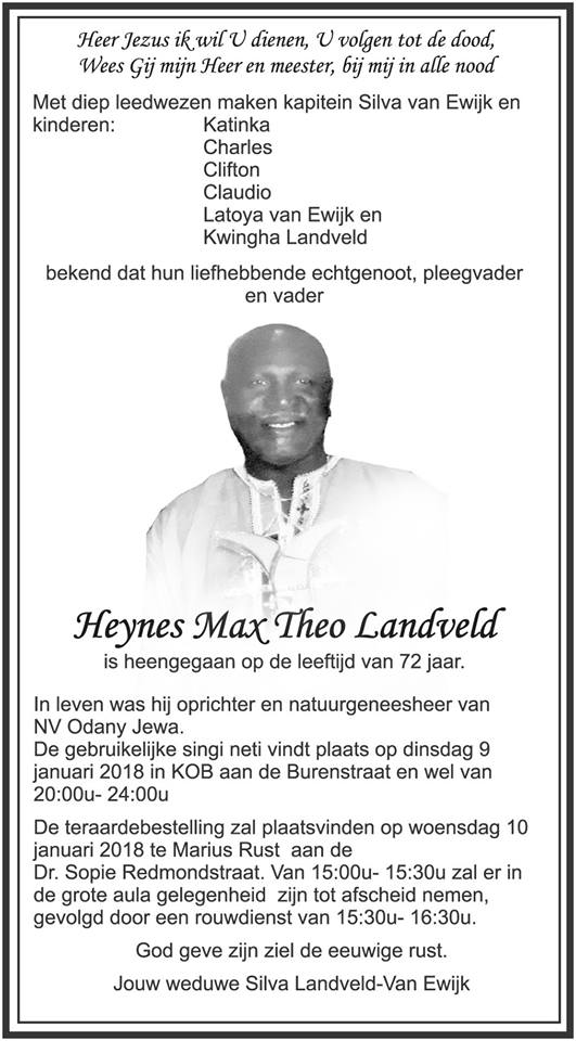 FamilieNieuws Suriname Overleden - Heynes Landveld