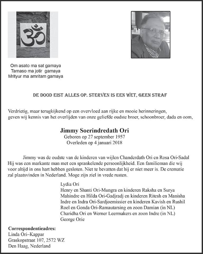 FamilieNieuws Suriname Overleden - Jimmy Ori