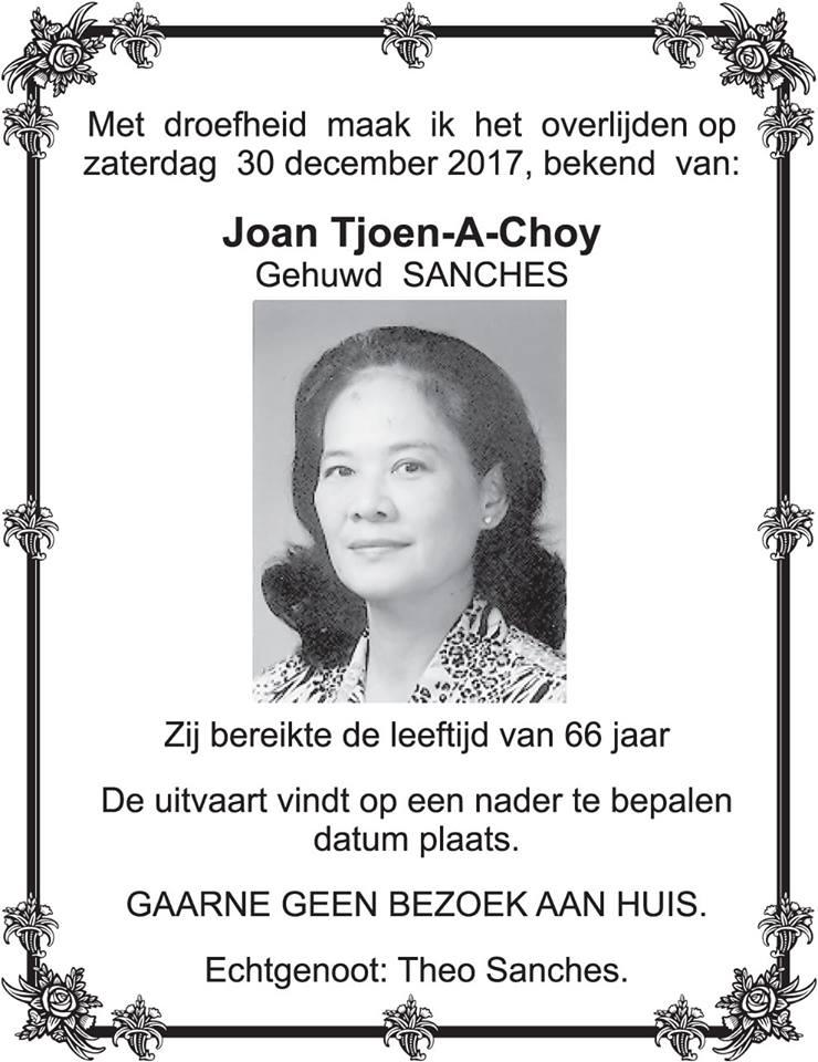 Overleden - Joan Sanches - Tjoen-A-Choy FamilieNieuws Suriname