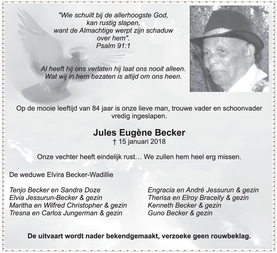 FamilieNieuws Suriname Overleden - Jules Becker