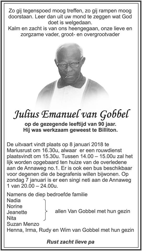 Overleden - Julius van Gobbel FamilieNieuws Suriname