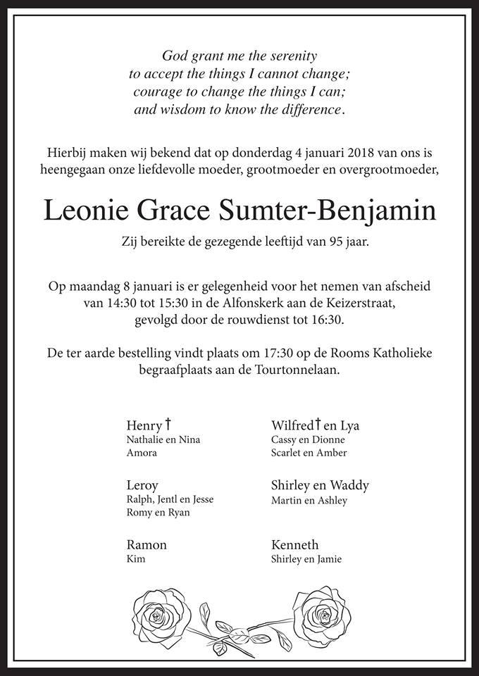 FamilieNieuws Suriname Overleden - Leonie Sumter - Benjamin