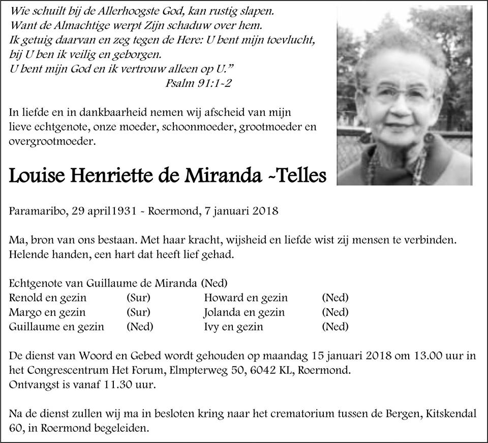 Suriname FamilieNieuws Overleden - Louise de Miranda - Telles