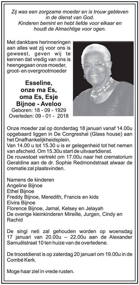 Overleden Nederland FamilieNieuws Suriname Overleden - Ma Es Bijnoe - Aveloo