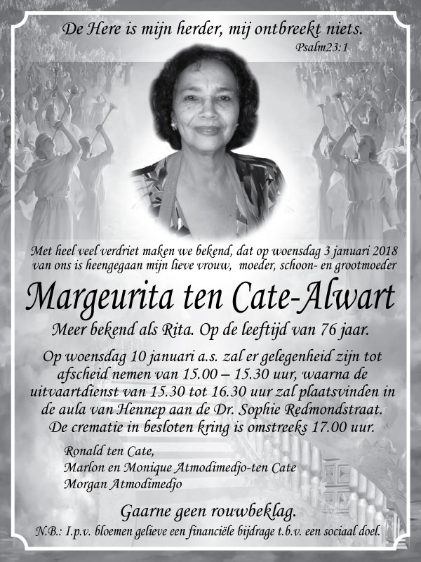 FamilieNieuws Suriname Overleden - Margeurita ten Cate - Alwart
